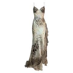 F/W 2000 Roberto Cavalli Sheer Silk Leopard High Slit Ruffle Gown Dress