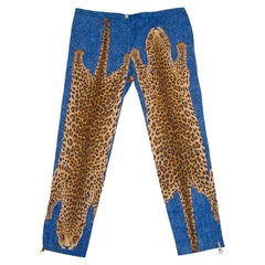 F/W 2000 Runway Christian Dior Stone Wash Jeans with Leopards