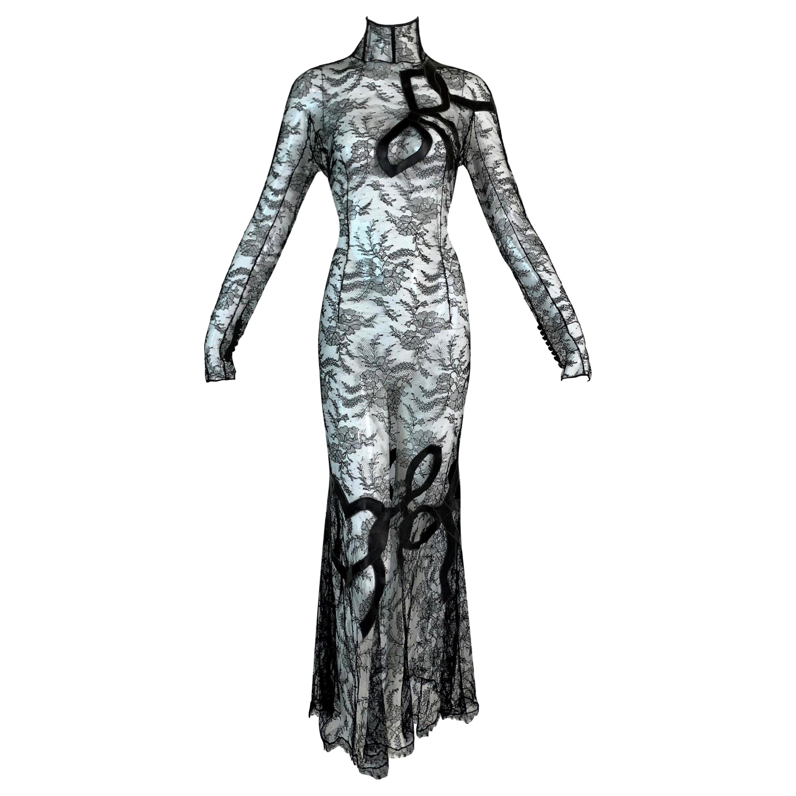 F/W 2001 John Galliano Sheer Black Lace Brown Silk Ribbon Details Gown Dress