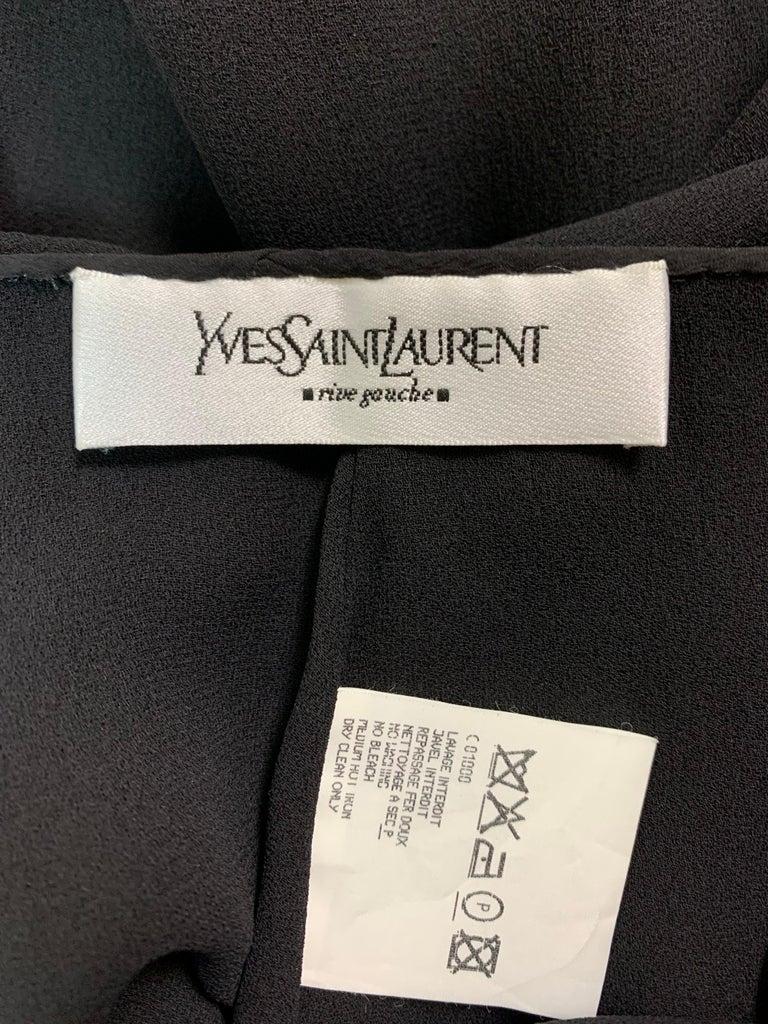 Women's F/W 2001 Yves Saint Laurent Tom Ford Plunging Sheer Black Fringe Flower Dress 38 For Sale
