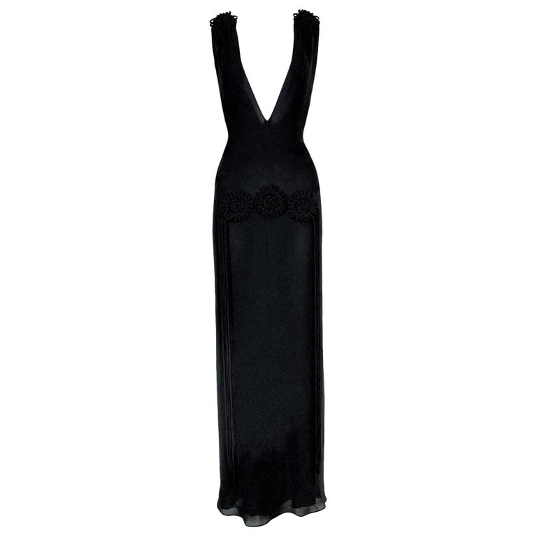 F/W 2001 Yves Saint Laurent Tom Ford Plunging Sheer Black Fringe Flower Dress 38 For Sale