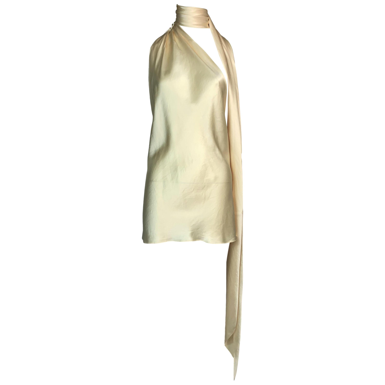 F/W 2002 Dolce & Gabbana Runway Pearl Ivory Satin Micro Mini Dress