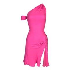F/W 2002 Gianni Versace Runway One Shoulder Neon Pink Silk High Slit Mini Dress