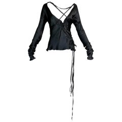 F/W 2002 Gucci Tom Ford Runway Black Silk Plunging Corset Ties Blouse Top