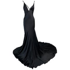 F/W 2002 Gucci Tom Ford Runway Finale Plunging Black Extra Long Gown Dress