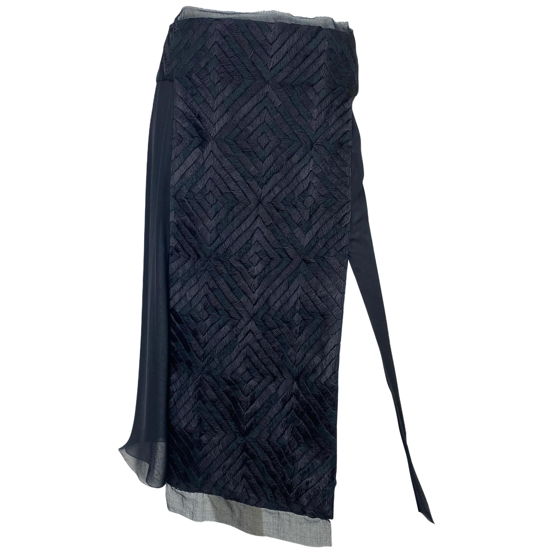 F/W 2002 Tom Ford for Gucci embroidered silk skirt