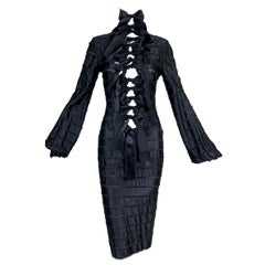 F/W 2002 Yves Saint Laurent by Tom Ford Black Silk Ribbon Cut-Out Dress