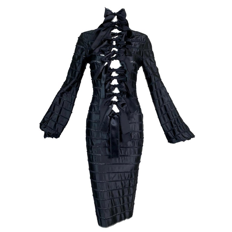 F/W 2002 Yves Saint Laurent by Tom Ford Black Silk Ribbon Cut-Out Dress For Sale
