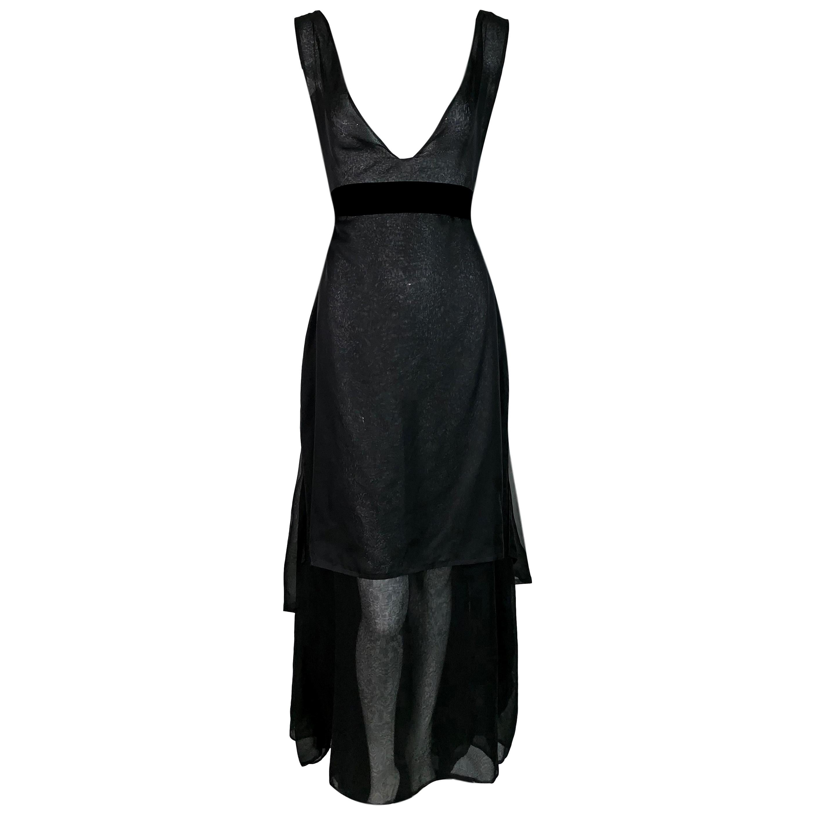 F/W 2002 Yves Saint Laurent Tom Ford Runway Sheer Black Plunging Gown Dress