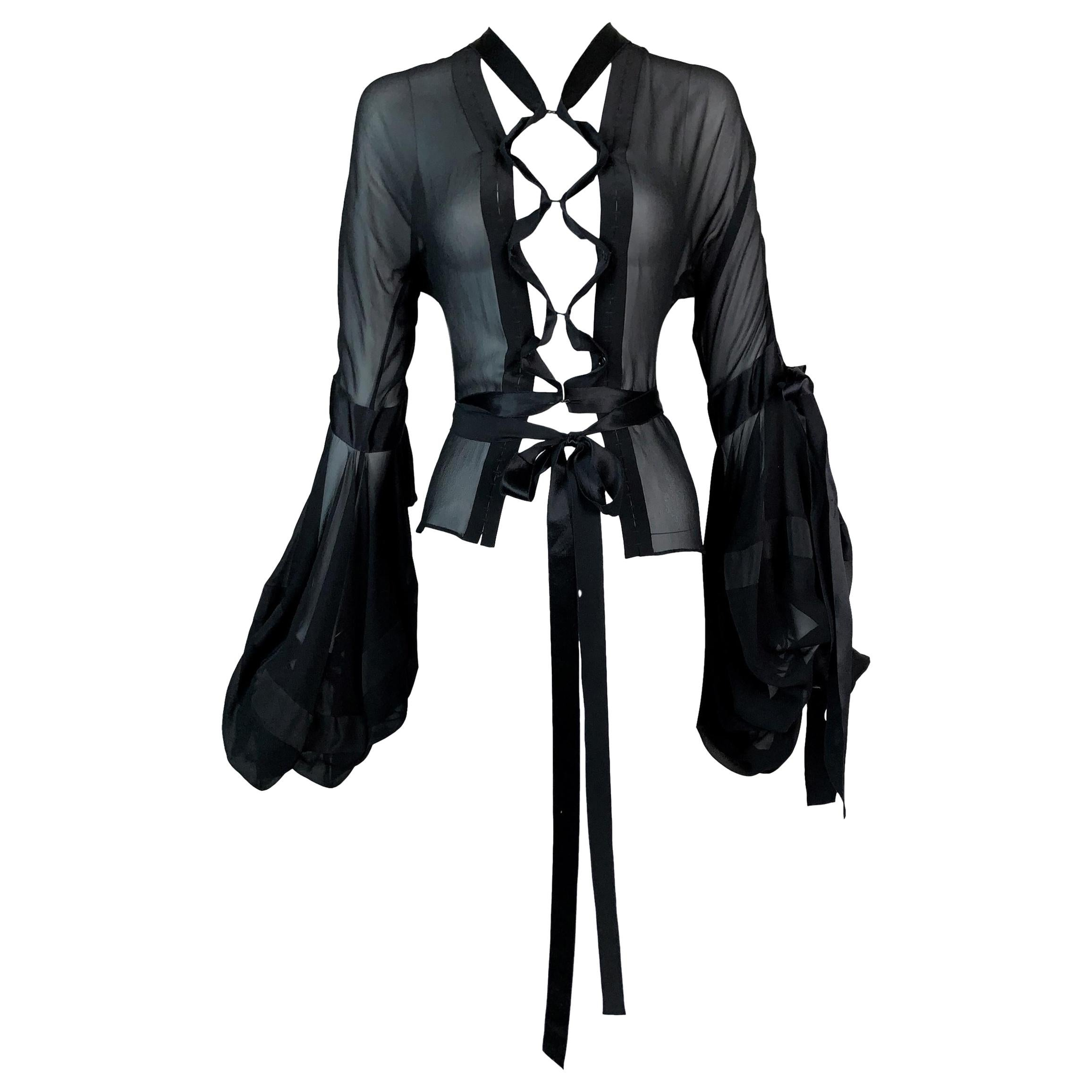 F/W 2002 Yves Saint Laurent Tom Ford Sheer Black Silk Lace Up Blouse Top