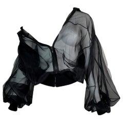 F/W 2003 Christian Dior by John Galliano Sheer Black Silk Mesh Jacket