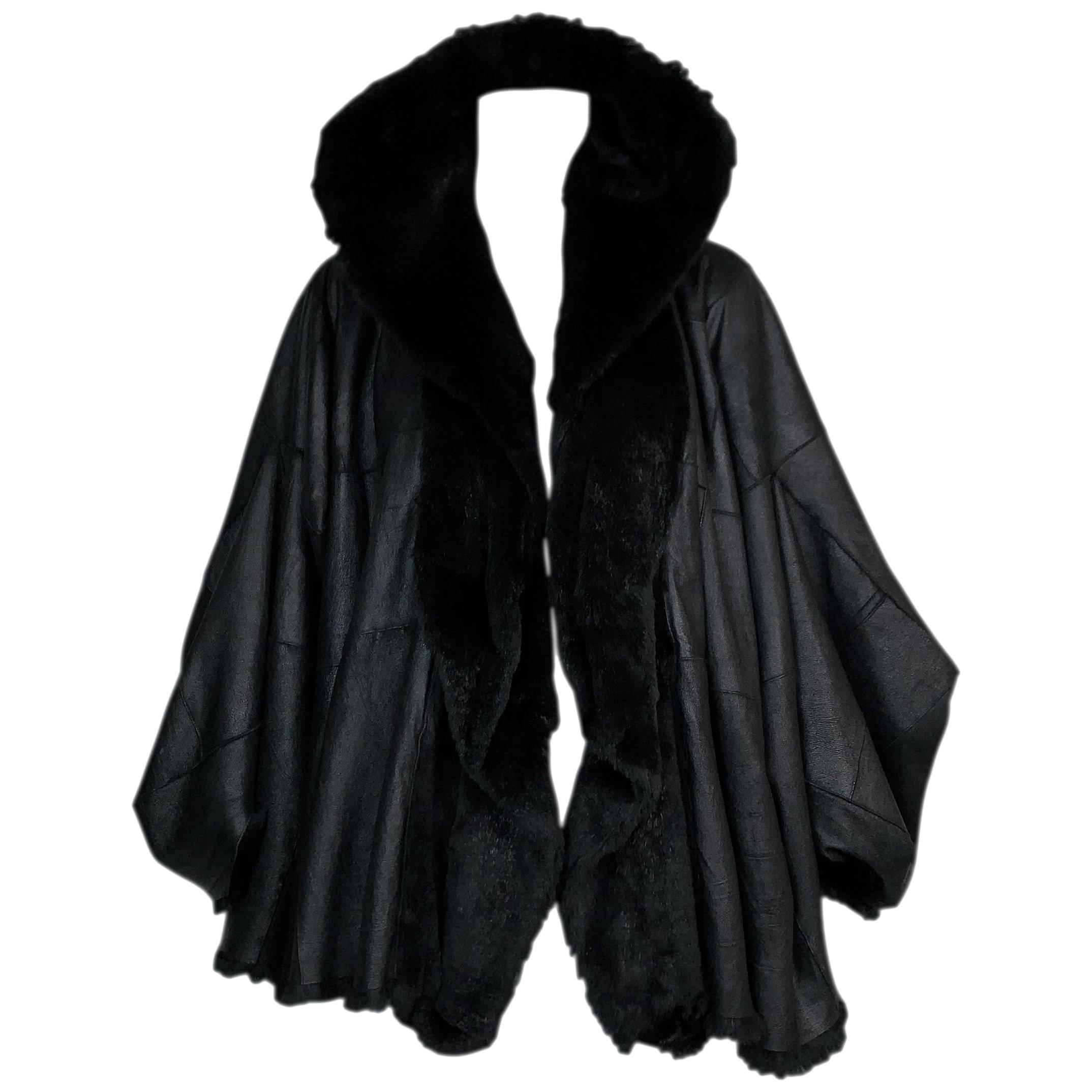 F/W 2003 Christian Dior John Galliano Black Shearling Leather Coat Jacket