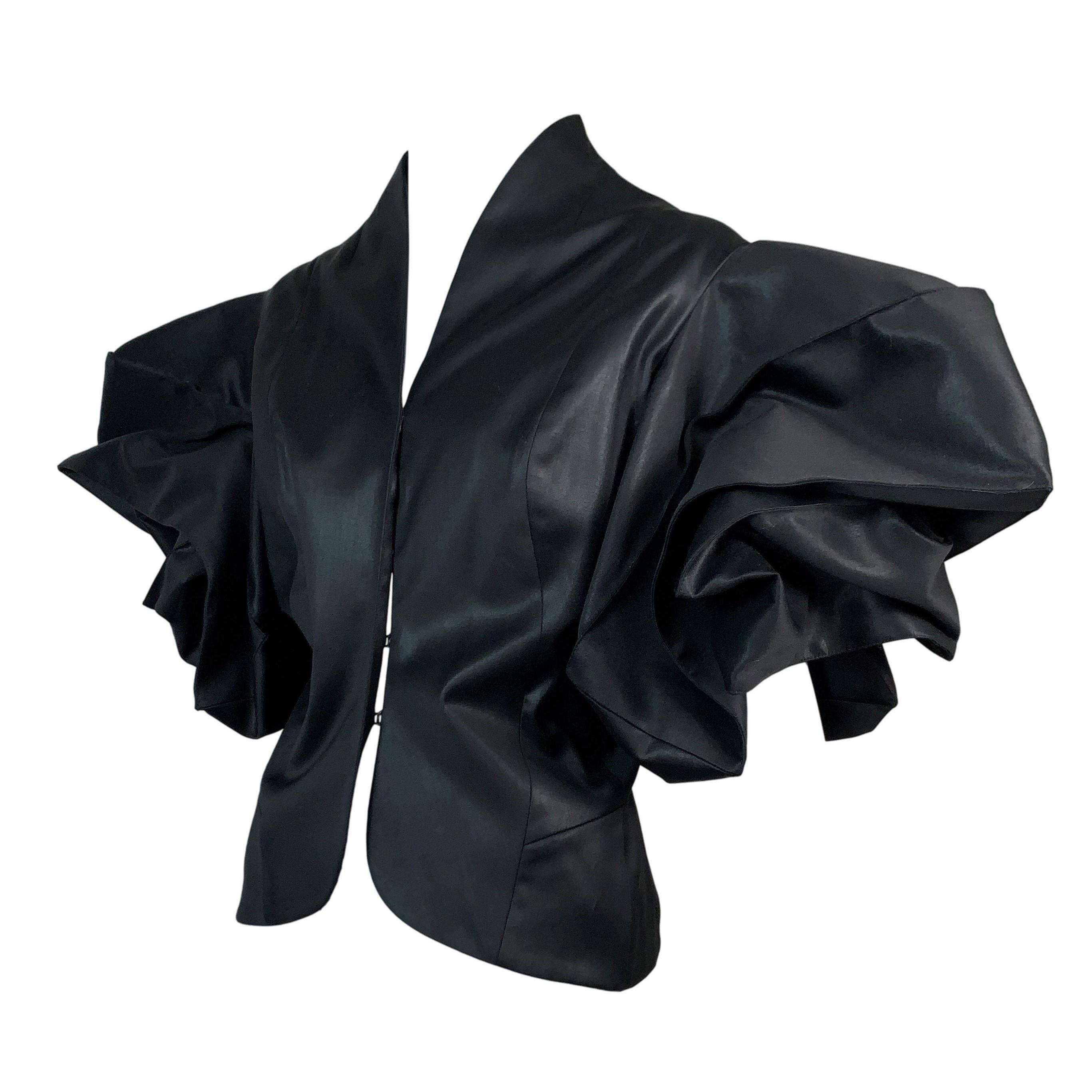 F/W 2003 Christian Dior John Galliano Glossy Black Kimono Jacket Top
