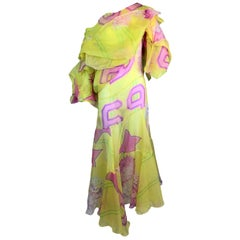 F/W 2003 Christian Dior John Galliano Runway Sheer Yellow Star Silk Gown Dress