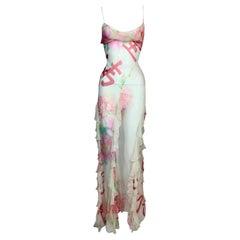 F/W 2003 Christian Dior John Galliano Sheer Ivory Silk Japanese Gown Dress