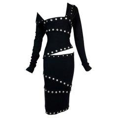 F/W 2003 Dolce & Gabbana Runway Black Snap-Up L/S Wiggle Dress