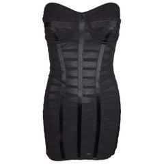 F/W 2003 Dolce & Gabbana Sheer Strapless Bandage Corset Pin-Up Mini Dress 38