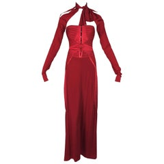 F/W 2003 Gucci by Tom Ford Runway Red Strapless Corset Gown Dress