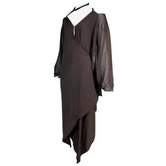 F/W 2003 Gucci Tom Ford Brown Silk Choker Wrap Dress 40