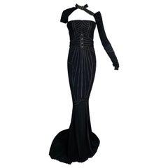 F/W 2003 Gucci Tom Ford Runway Black Bondage One Arm Gown Dress