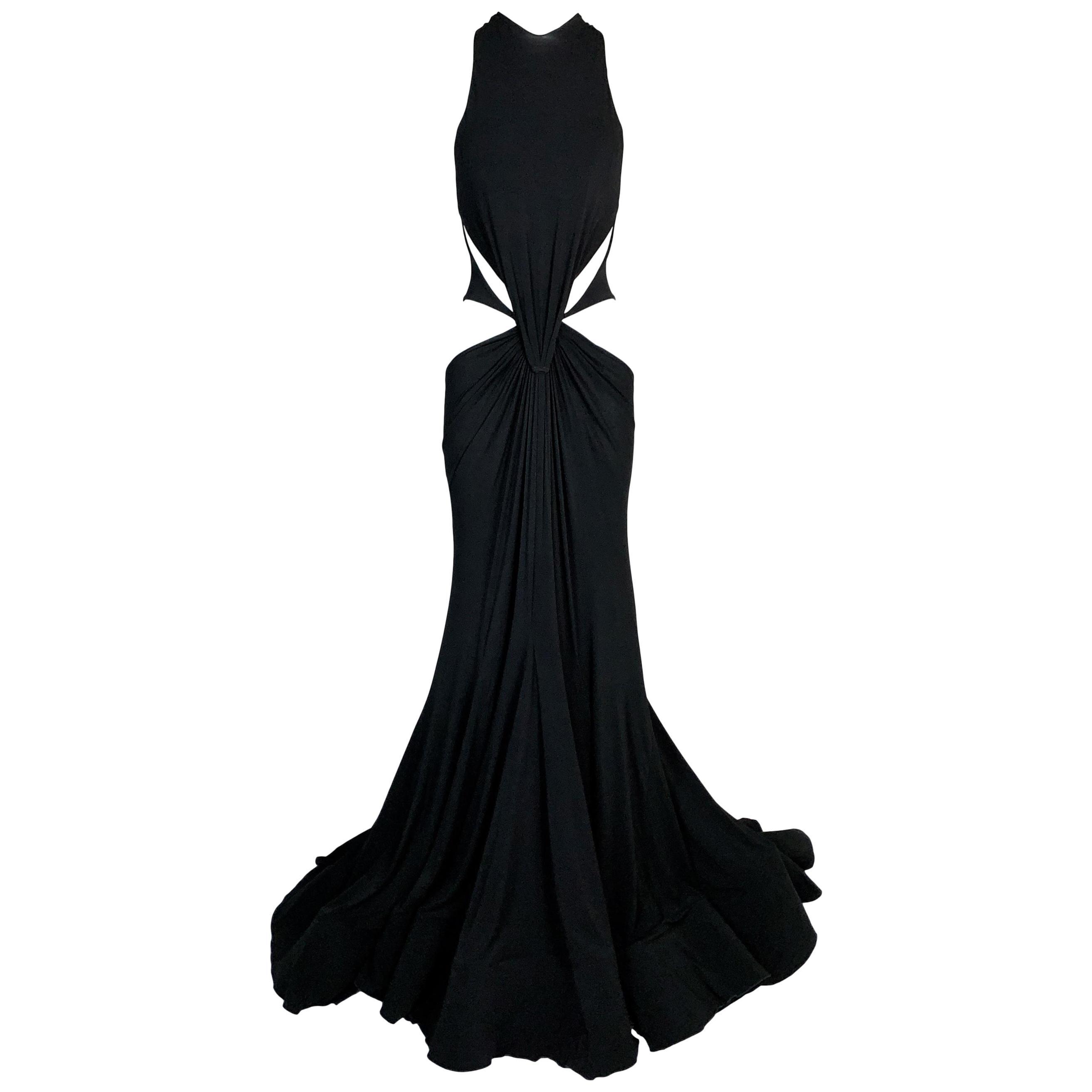F/W 2003 Roberto Cavalli Runway Black Cut-Out Gown Dress