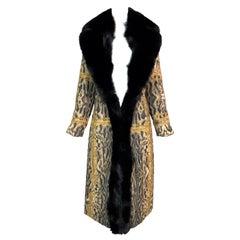 F/W 2003 Roberto Cavalli Unisex Leopard Chains Silk Reversible Puffer Coat w Fur