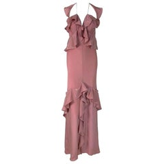 F/W 2003 Yves Saint Laurent Tom Ford Dusty Rose Pink Silk Ruffle Gown Dress