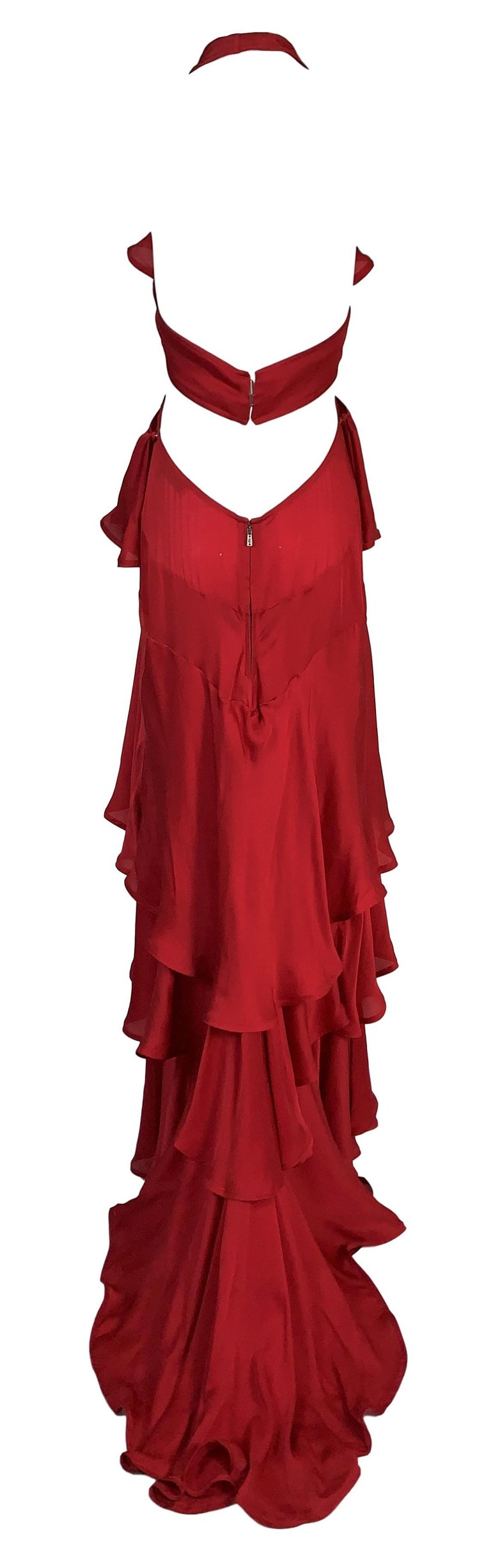 F/W 2003 Yves Saint Laurent Tom Ford Runway Red Cut-Out Ruffles Gown Dress In Good Condition For Sale In Yukon, OK