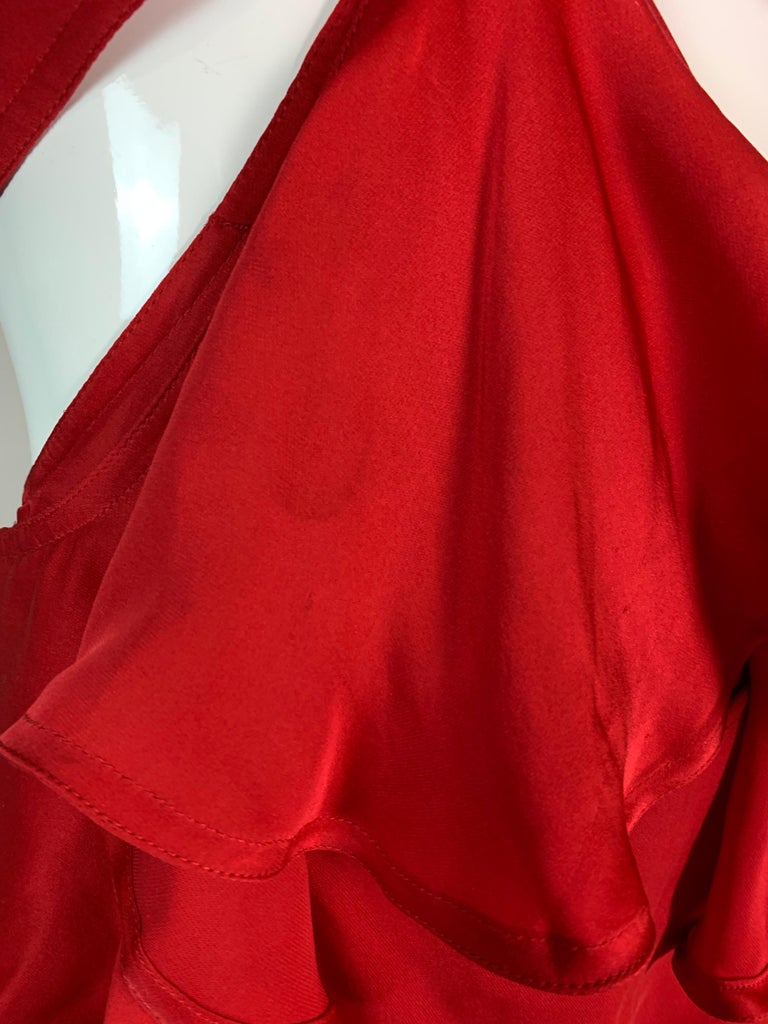 F/W 2003 Yves Saint Laurent Tom Ford Runway Red Cut-Out Ruffles Gown Dress For Sale 4