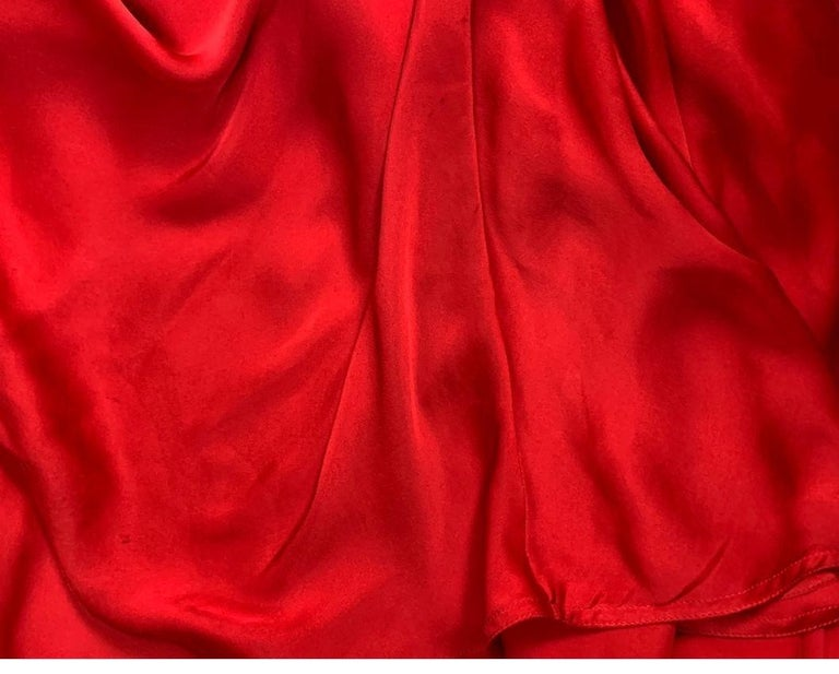 F/W 2003 Yves Saint Laurent Tom Ford Runway Red Cut-Out Ruffles Gown Dress For Sale 5