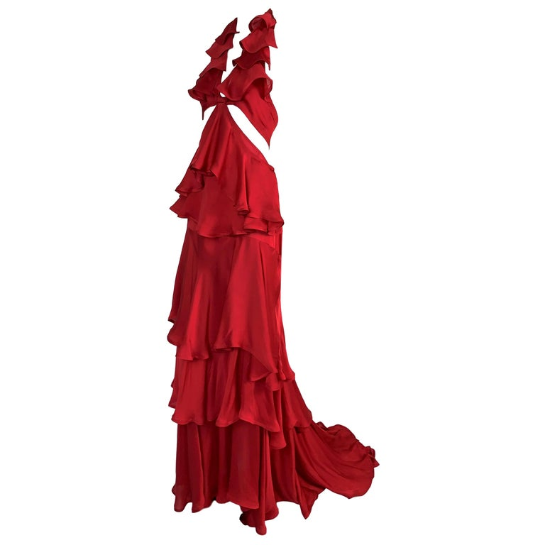 F/W 2003 Yves Saint Laurent Tom Ford Runway Red Cut-Out Ruffles Gown Dress For Sale