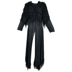 F/W 2003 Yves Saint Laurent Tom Ford Runway Sheer Black Silk Fringe Coat Dress
