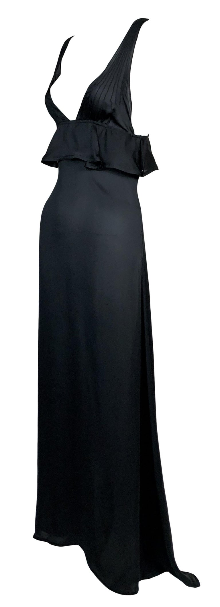 F/W 2003 Yves Saint Laurent Tom Ford Runway Sheer Black Silk Plunging Gown Dress In Good Condition For Sale In Yukon, OK