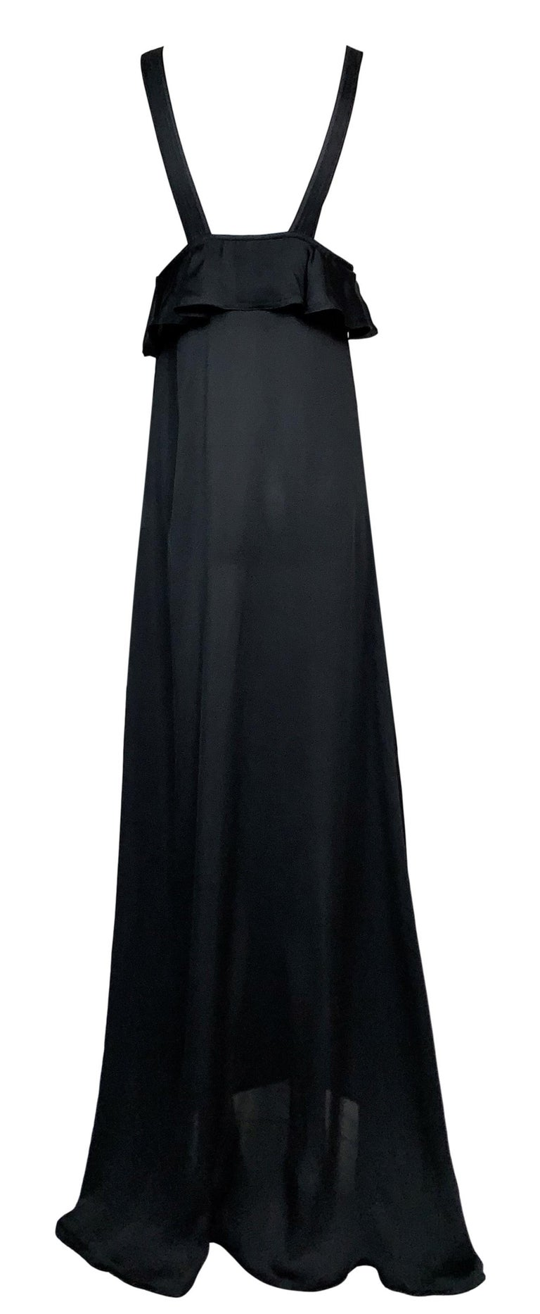Women's F/W 2003 Yves Saint Laurent Tom Ford Runway Sheer Black Silk Plunging Gown Dress For Sale