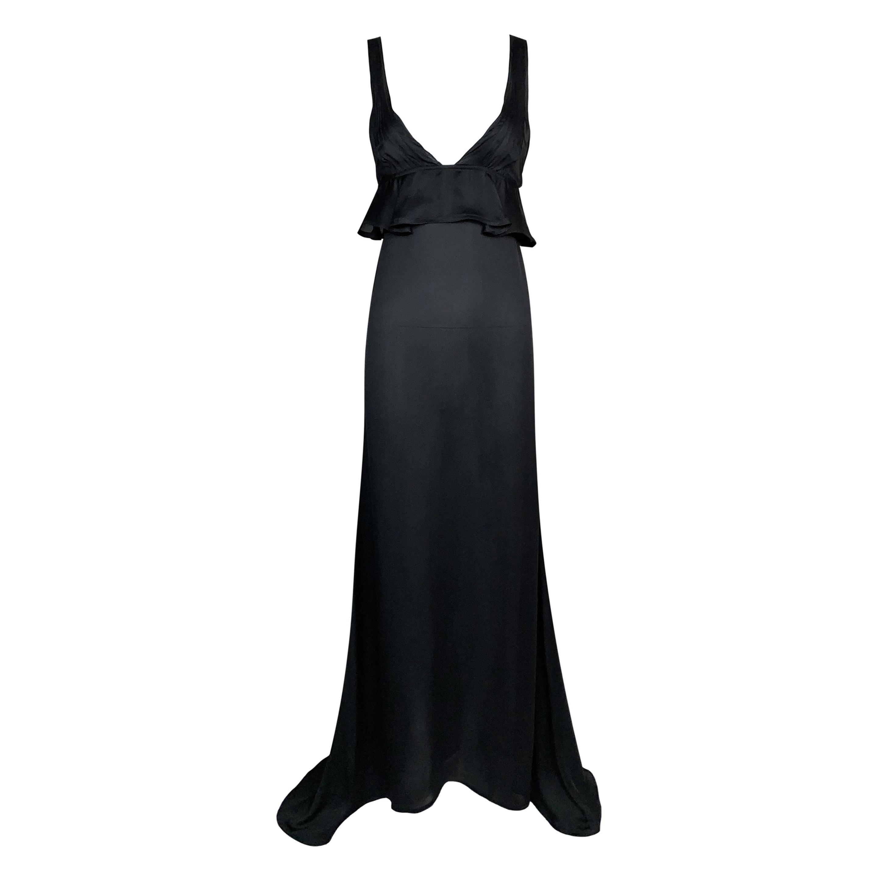 F/W 2003 Yves Saint Laurent Tom Ford Runway Sheer Black Silk Plunging Gown Dress