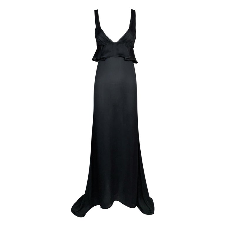 F/W 2003 Yves Saint Laurent Tom Ford Runway Sheer Black Silk Plunging Gown Dress For Sale