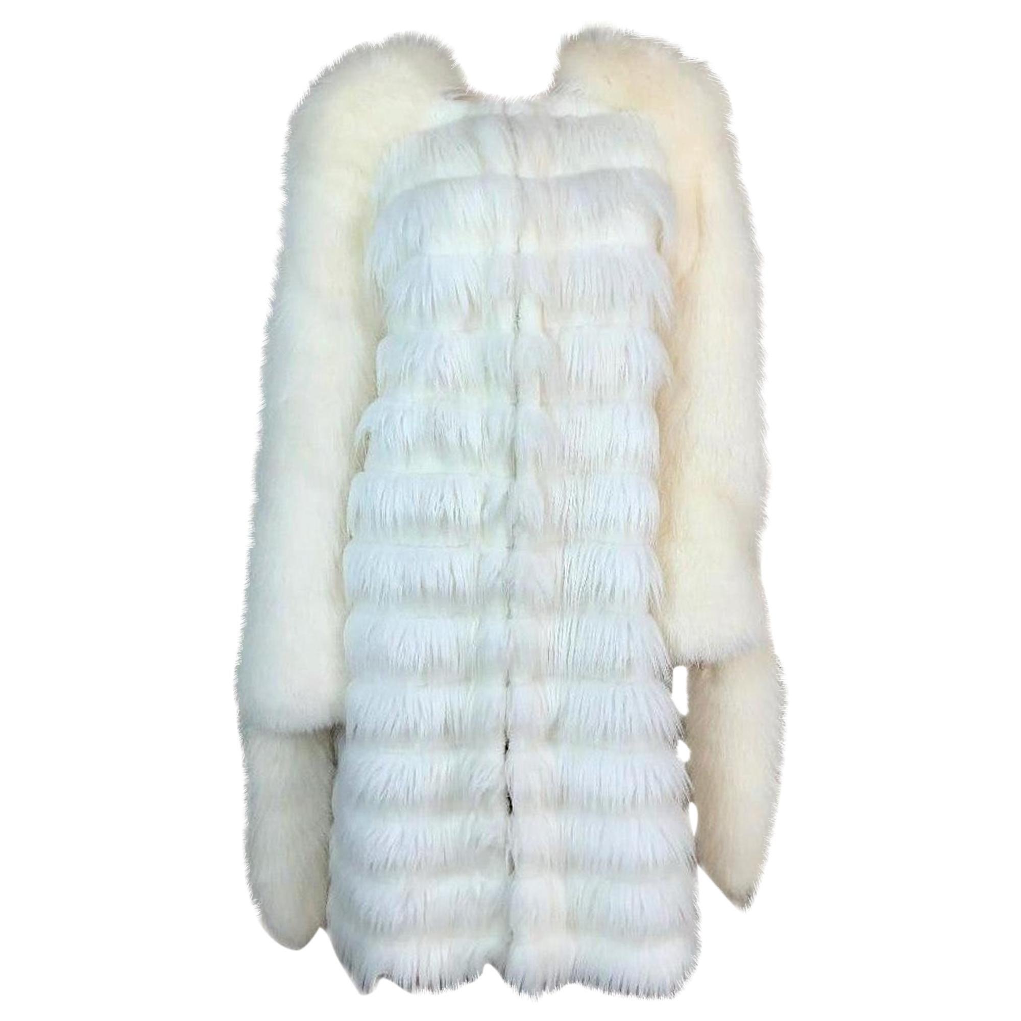 F/W 2003 Yves Saint Laurent Tom Ford Runway White Faux & Fox Fur Coat 38