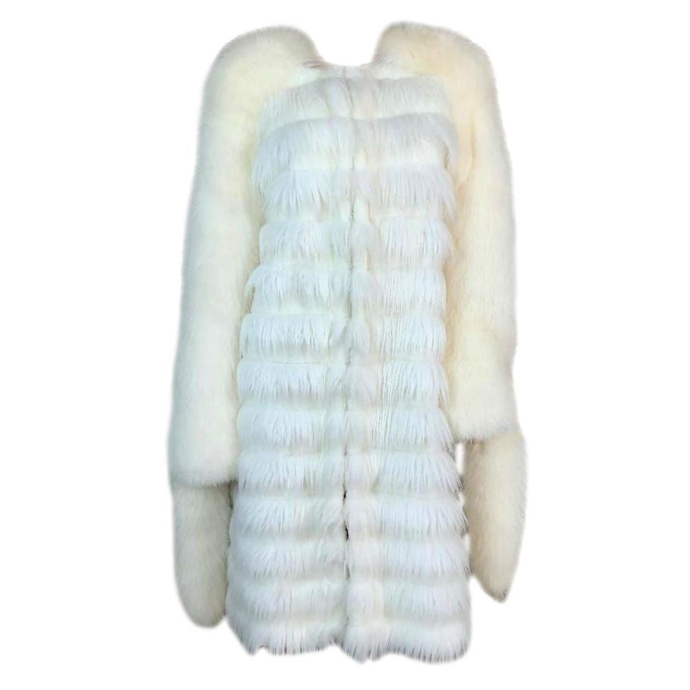 F/W 2003 Yves Saint Laurent Tom Ford Runway White Faux & Fox Fur Coat