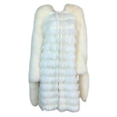 F/W 2003 Yves Saint Laurent Tom Ford Runway White Faux & Fox Fur Coat