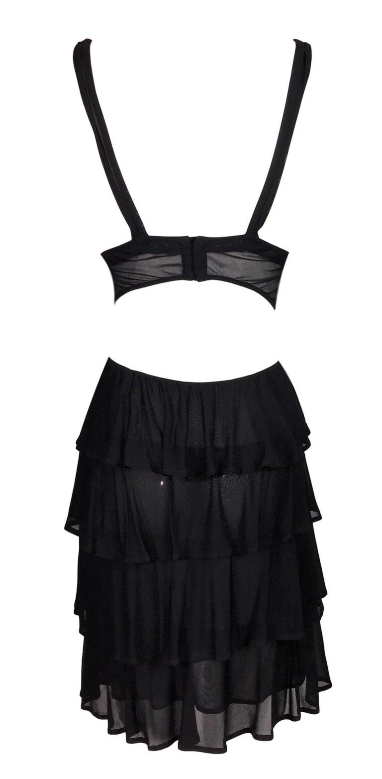 F/W 2003 Yves Saint Laurent Tom Ford Sheer Black Cut-Out Ruffle Mini Dress In Good Condition In Yukon, OK