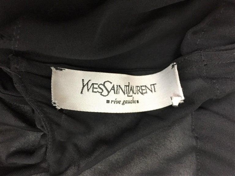 Women's F/W 2003 Yves Saint Laurent Tom Ford Sheer Black Cut-Out Ruffle Mini Dress
