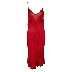 F/W 2003 Yves Saint Laurent Tom Ford Sheer Red Plunging Ruffle Dress L