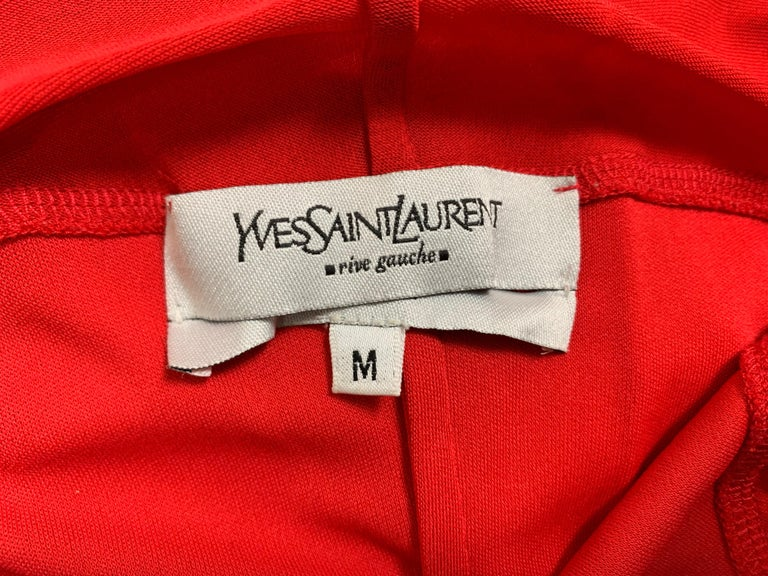 F/W 2003 Yves Saint Laurent Tom Ford Sheer Red Plunging Ruffles Dress In Good Condition For Sale In Yukon, OK