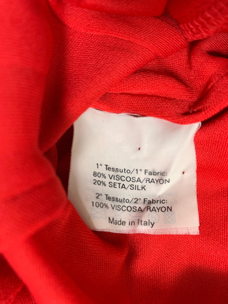 Women's F/W 2003 Yves Saint Laurent Tom Ford Sheer Red Plunging Ruffles Dress For Sale