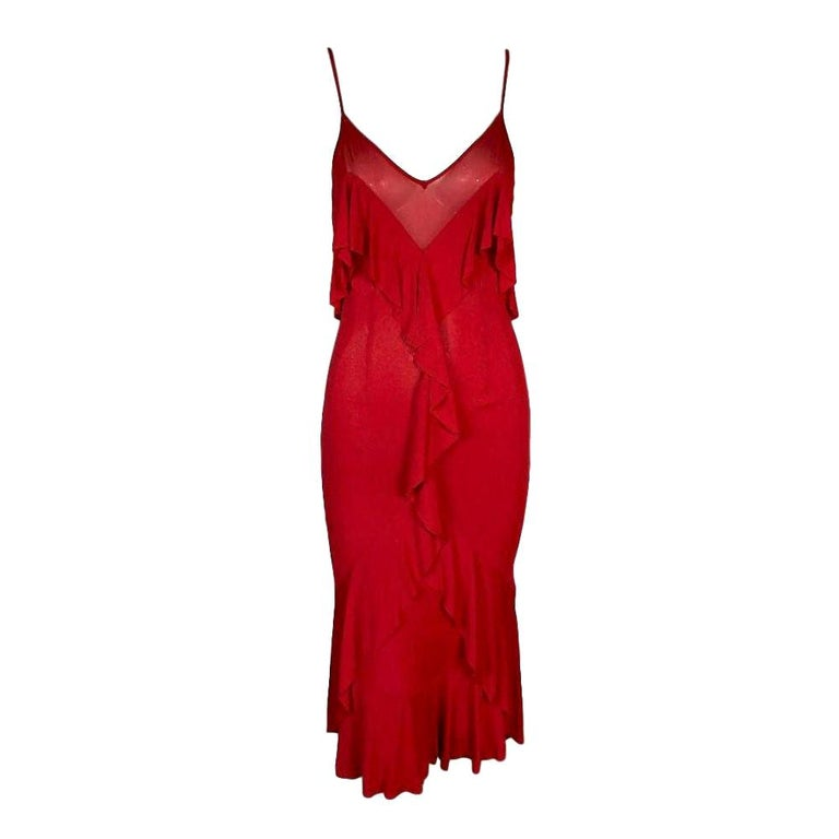 F/W 2003 Yves Saint Laurent Tom Ford Sheer Red Plunging Ruffles Dress For Sale