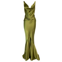F/W 2004 Christian Dior John Galliano Green Satin Gown Dress w Logo Belt