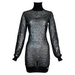 F/W 2004 Christian Dior John Galliano Sheer Black Leopard Mini Dress Tunic