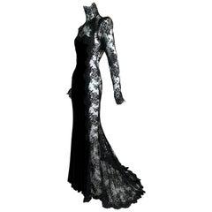 F/W 2004 Dolce & Gabbana Runway Sheer Black Lace Velvet Goth Princess Gown Dress
