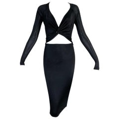 S/S 2005 Gucci Black L/S Cut-Out Bodycon Dress M