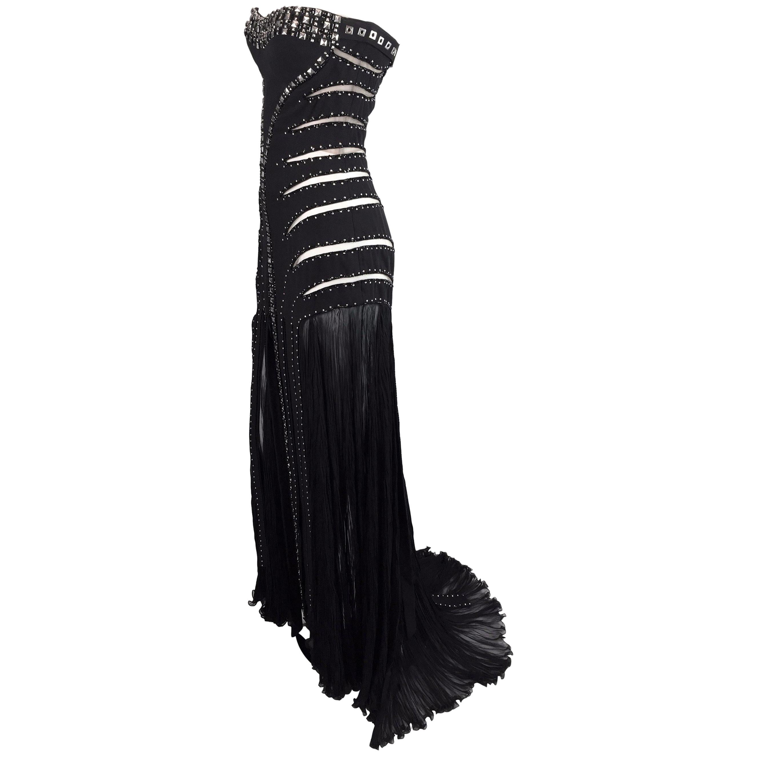 F/W 2004 Runway Atelier Versace Black Sheer Mesh Cut Out Studs Beaded Gown Dress